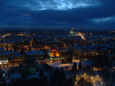 View over a wintry Riga