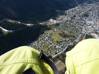 Paraglider flight, Chamonix