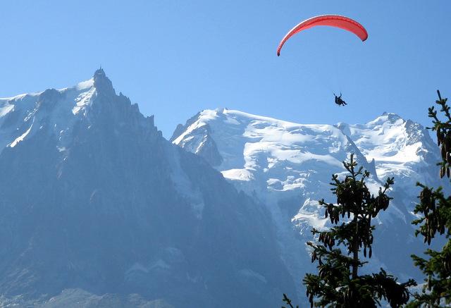 Paraglider above Chamonix